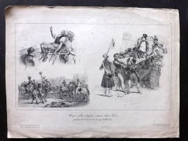 Eugene Lamy 1830 Antique Print. French Revolution Scenes. Paris